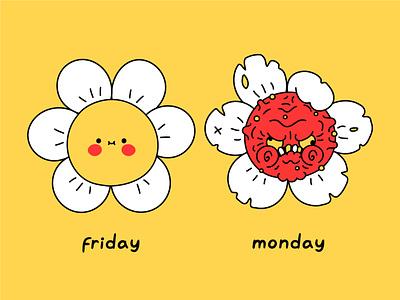 Friday monday mood t shirt print illustration poster