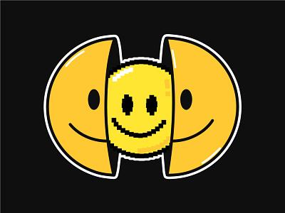 Smile inside vintage retro inside acid psychedelic trippy 16 bit 8 bit art pixel print t shirt poster logo concept kawaii cute cartoon character illustration