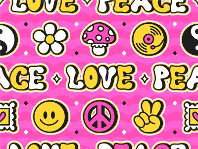 Hippie pattern yin yang acid lsd psychedelic good vibes love peace 60s 70s boho hippie wallpaper print pattern seamless kawaii cute cartoon character illustration