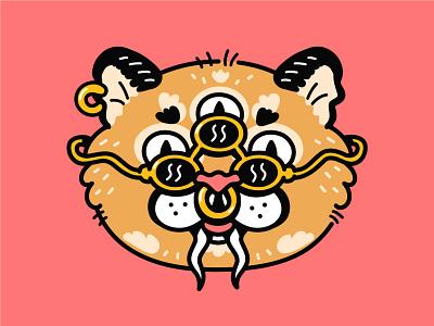 Kittie lsd psychedelic trippy acid poster print t shirt cool open third eye weird sunglasses wild tiger cat puma head cartoon character illustration