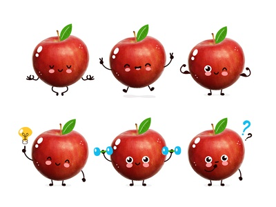Funny apple character