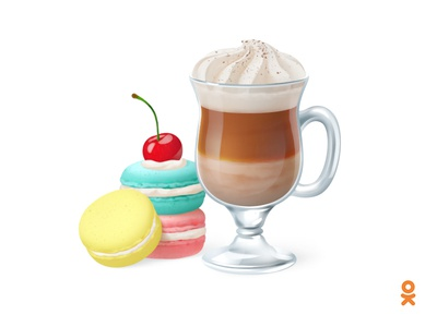 Latte and macarons (for ok.ru) gift illustration sweet biscuits coffee macarons latte