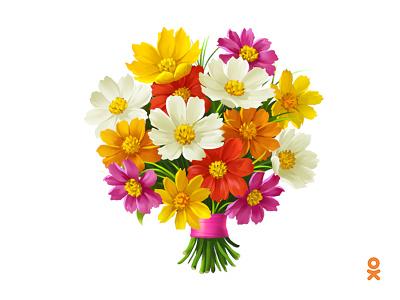 bouquet of flowers (for ok.ru) illustration flowers bouquet