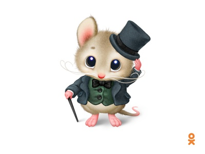 Mouse (for ok.ru) illustration cute cane hat gentleman mouse