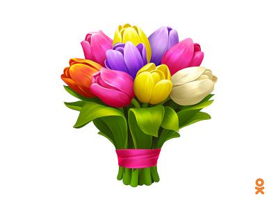 Bouquet of tulips (for ok.ru) illusatrtion floral flower tulip bouquet