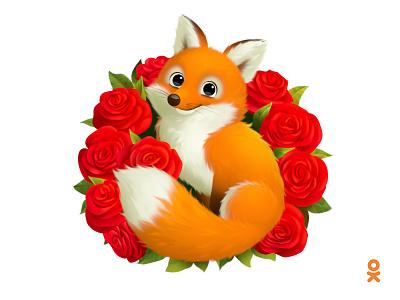 Fox (for ok.ru) animal illustration fluffy floral flower roses fox