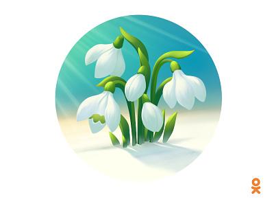 snowdrops (for ok.ru) illustration floral snow flower snowdrops