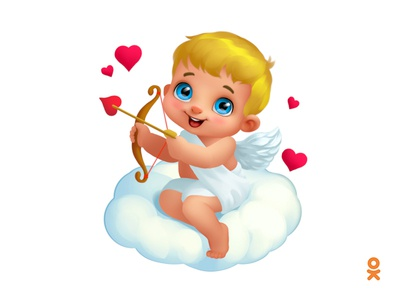 Cupid on the cloud (for ok.ru) love angel valentines day heart cloud cupid