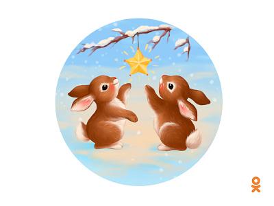 Hares (for ok.ru) animal rabbit winter spring star hare