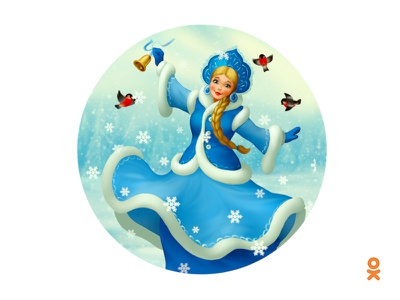 Snow Maiden (for ok.ru) illustration winter russian girl snow bird snow maiden