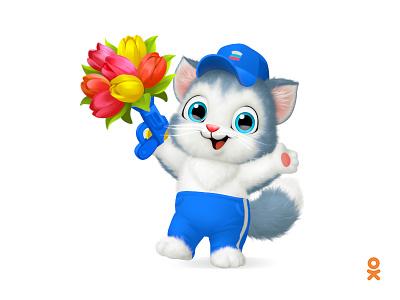 Cat (for ok.ru) character illustration flower sportsman sport cat