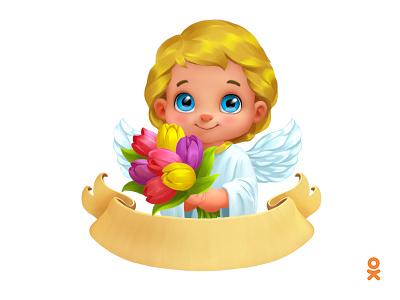Angel (for ok.ru) wings tulip illustration flower angel