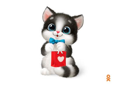 Cat (for ok.ru) love illustration heart character cat