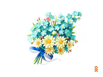 Сhamomile and forget-me-nots (for ok.ru) illustration bouquet flower forget-me-nots сhamomile