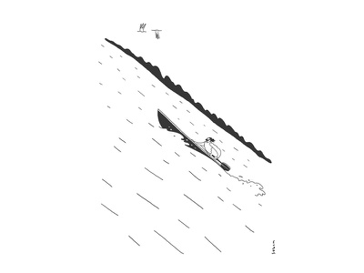 Man in a boat caricature conceptual doodle ink lake boat creativity creative illustration