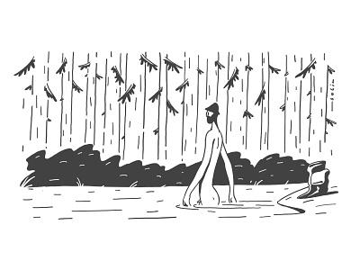 bather lake wood poisonous inktober2018 inktober ink forest doodle bather