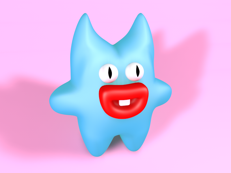 Cute little demon modeling happy demon monster c4d 3d
