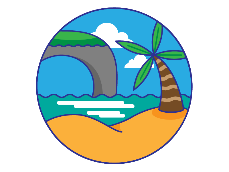 Emerald Coast sea palm tree beach illustration