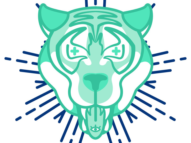 Karmic tiger cosmic eye vector illustraton tiger