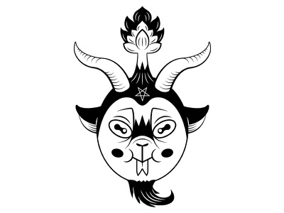 Cute Baphomet cute black lining baphomet demon satan devil symmetry illustration