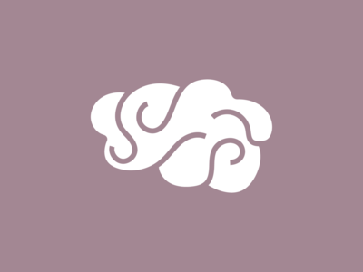 Negative Space Brain Logo
