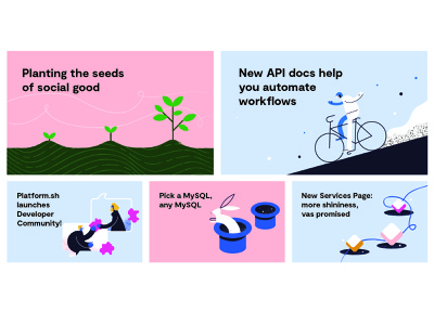 Platform.sh Blog Posts magic developer community plant services rabbit api automation platform.sh illustration blog