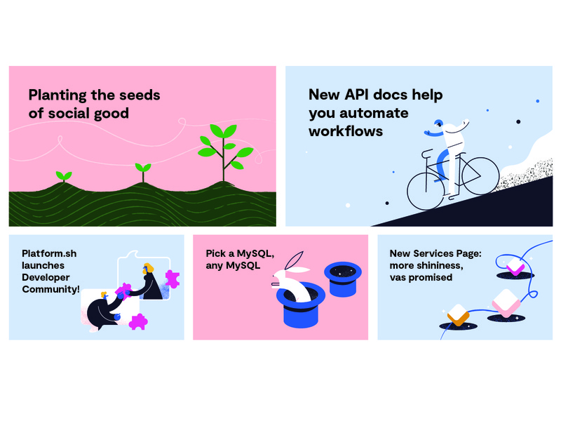 Platform.sh Blog Posts magic developer community plant services rabbit api automation platform.sh illustration blog