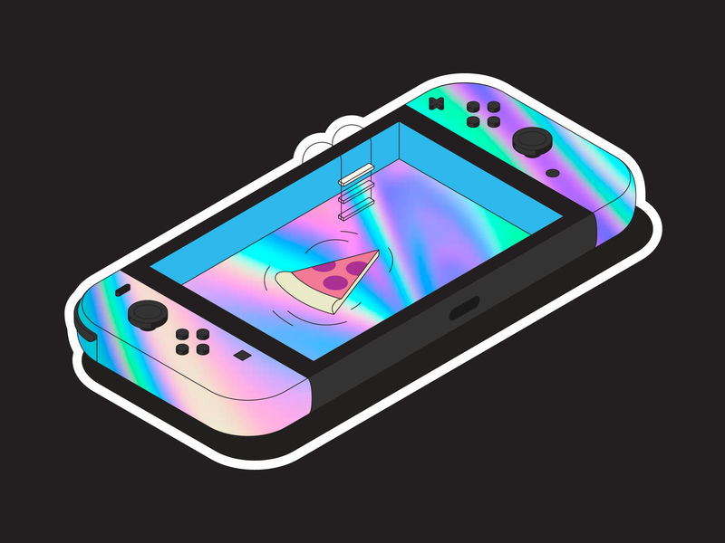 Holo Switch isometric pool floatie pizza nintendo switch sticker holographic