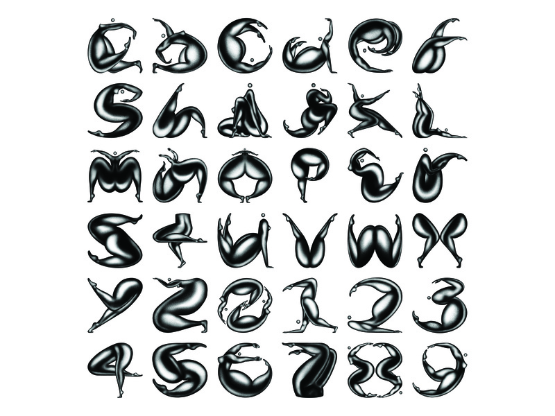 36 Days of Type 07 Full Set gymnastics flexible body procreate yoga girl dance typography person type lettering illustration letter 36 days of type