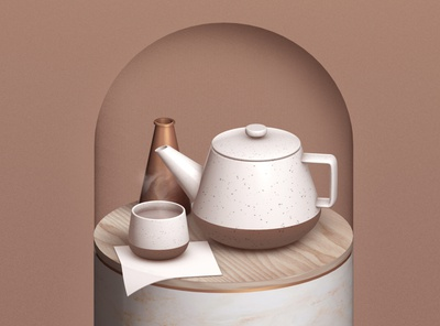 Tea Time 🍵 texture wood marble steam napkin ceramic metal copper 3dfordesigners c4d 3d drink teacup teapot tea