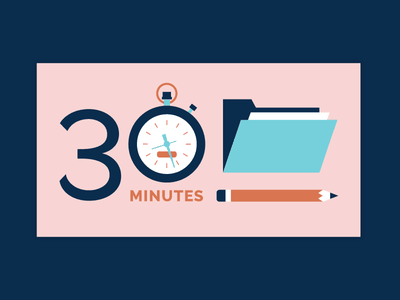 30 Minute Portfolio copywriting time header illustration blog writing pencil portfolio stopwatch timer clock