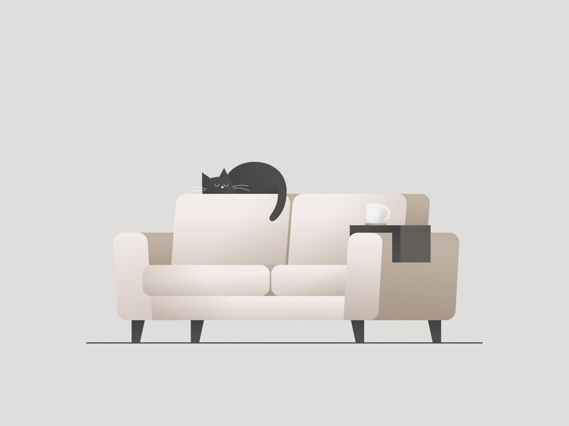 Cat Nap 💤  Vectober #7 vectober inktober inktober2018 pet animal coffee cup mug furniture sofa couch cat tired sleep rest exhausted