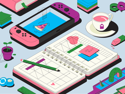 Let me check my calendar calendar notebook messy pencil eraser lip balm ruler post it book isometric film monster nessie supplies nintendo switch pool pizza tea cup planner