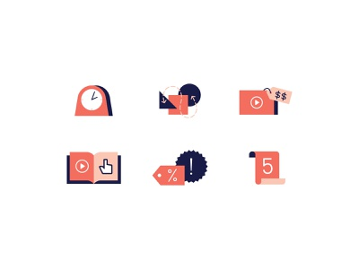 State of Video Icons infographic path marketing cost book time clock complicated list price tutorial video icons