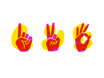 one two three peace sign okay three two one procreate risograph emoji number hand