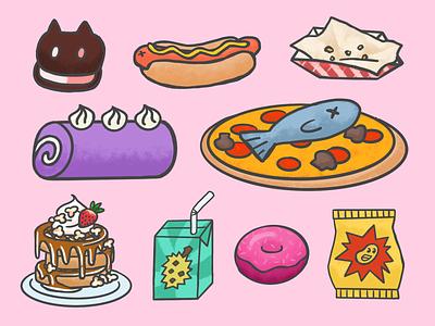 ⭐Together Food⭐ snacks junk food ice cream fries hotdog dessert cake fish pizza donut chips juice box waffles food steven universe