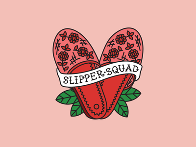 Slipper Squad sticker heart tattoo asian slippers shoes