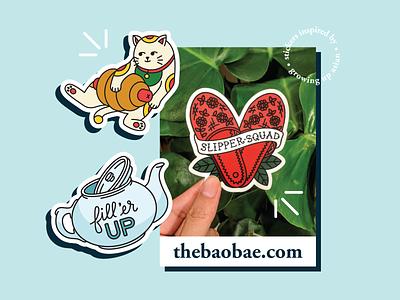 SHOP LAUNCH 🎉 illustration lucky cat chinese dimsum yumcha teapot heart slippers hotdog cat asian sticker