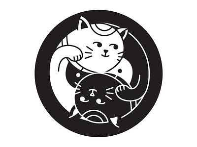 Cat Coaster yin and yang lucky cat cat coaster