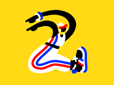 2 people procreate letter sports typography lettering number two 36 days of type