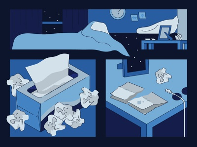 Empty Spaces 1 illustration window isometric space stars tissues bed blue