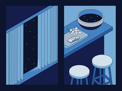 Empty Spaces 3 illustration isometric blue stars space bar stools window bowl food