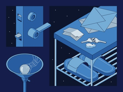 Empty Spaces 5 illustration isometric blue empty stars space door note slippers lamp keys