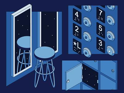 Empty Spaces 9 illustration isometric button locker elevator stool mirror stars space empty