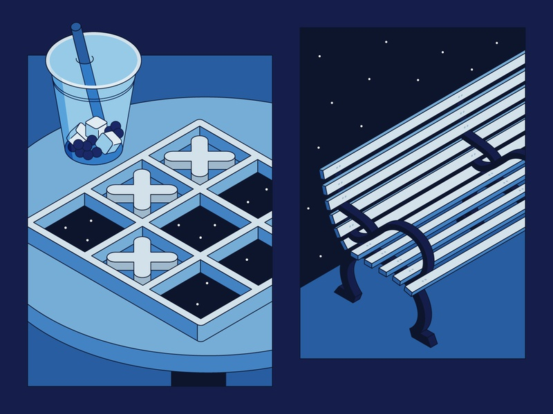 Empty Spaces 10 illustration stars space sky bench game tic tac toe drink boba isometric blue