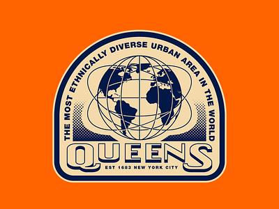 Queens NYC dribbbleweeklywarmup city hometown halftone retro landmark globe sticker new york city nyc queens