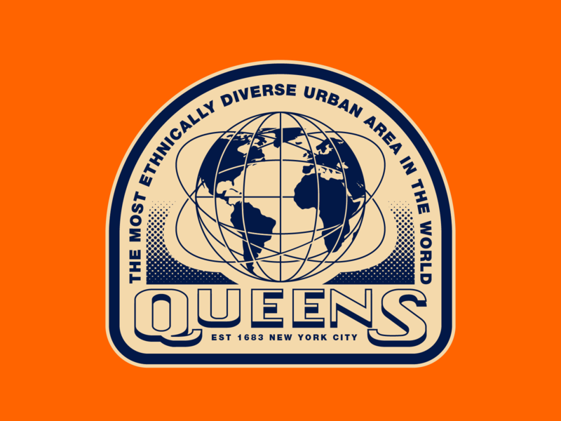 Queens NYC dribbbleweeklywarmup city hometown halftone retro landmark globe sticker new york city nyc queens