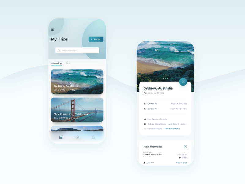 Trip Itinerary Planning App travel app booking search feed airlines flights vacation itinerary planning travel application app ux ui user interface design