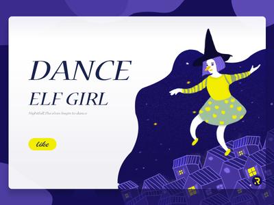 Dancing Elf | Illustration houses starry sky card typesetting elf dancing illustrator