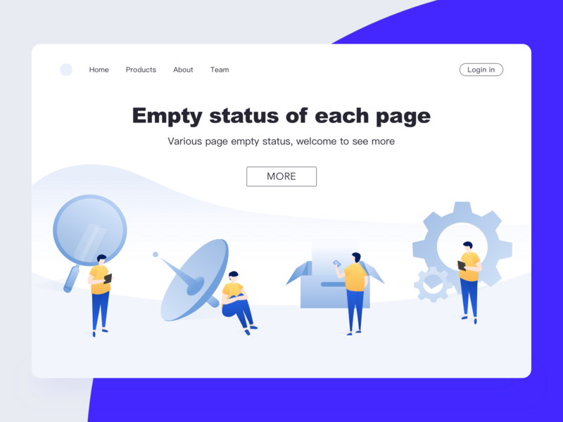 Empty State of Bank Integral System box peoples web login page facebook behance dribbble satellite magnifier people sit violet interface yellow design illustration clean app art ui  ux